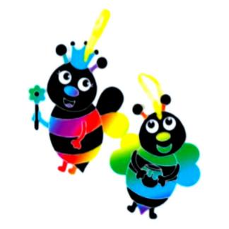 Knutselset om bijendecoraties te versieren met kraskunst. Leuke set voor een eenvoudig knutselmoment tijdens een thematisch kinderfeestje rond bijen.