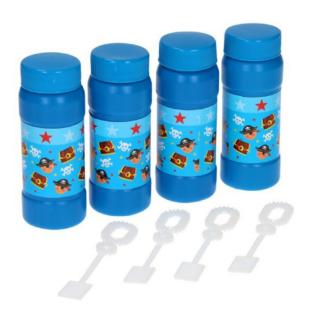 Set van vier blauwe bellenblazen met een print van piraten, schatkisten en doodshoofden.