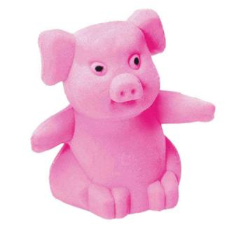 Roze gom in de vorm van een zittend varken.