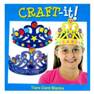 Knutselset metzes blanco kartonnen kronen om in te kleuren en te versieren. Leuke knutselset tijdens een thematisch kinderfeestje rond prinsessen.