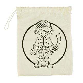 Katoenen zakje met opdruk van een piraat om in te kleuren. Leuk als knutselset tijdens een thematisch kinderfeestje rond piraten.