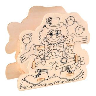 Houten spaarpot met afdruk van een clown om in te kleuren. Ideaal voor een leuk knutselmoment tijdens een thematisch kinderfeestje rond het circus.