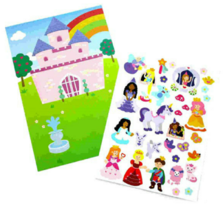 Knutselset met 4 kartonnen vellen met een tafereel van een kasteel en meer dan 25 stickers met prinsessenontwerp om het tafereel te versieren. Leuke knutselset tijdens een thematisch kinderfeest rond prinsessen.