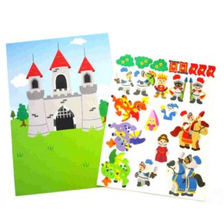 Knutselset met 4 kartonnen vellen met een tafereel van een kasteel en meer dan 25 stickers met ridders en draken om het tafereel te versieren. Leuke knutselset tijdens een thematisch kinderfeest rond ridders en draken.