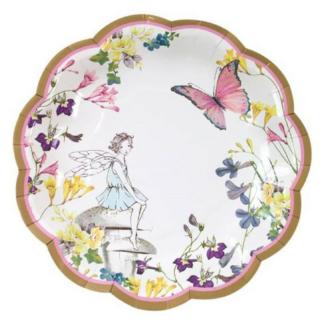Kartonnen bord met een afbeelding van een elfje, vlinders en bloemen in zachte pastelkleuren. Leuk als tafeldecoratietijdens een thematisch kinderfeest rond elfjes en tuinfeeën.