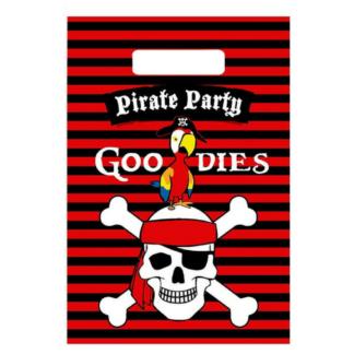 Uitdeelzakje met opdruk van een piratendoodshoofd op een zwart/rood horizontaal gestreepte achtergrond. Leuk tijdens een kinderfeest rond piraten.