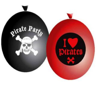 Set van drie zwarte en drie rode ballonnen met opdruk van piraten. Leuk als decoratie tijdens een kinderfeestje rond piraten.
