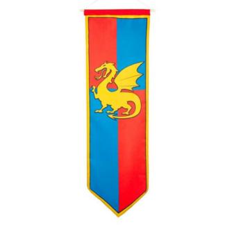 Banner met afbeelding van een gele draak op een blauwe en rode achtergrond. Leuke feestversiering voor een thematisch kinderfeestje rond ridders.