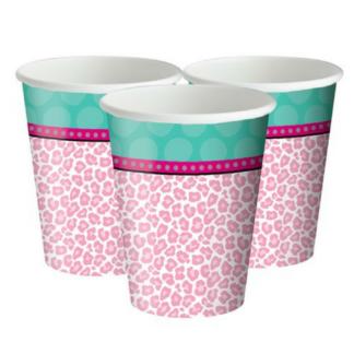Set van 8 kartonnen bekers met wit/roze print en een brede bovenrand in turquoise.