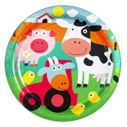 Set van 8 kartonnen borden met een afbeelding van boerderijdieren. Leuke tafeldecoratie tijdens een thematisch kinderfeest rond de boerderij.