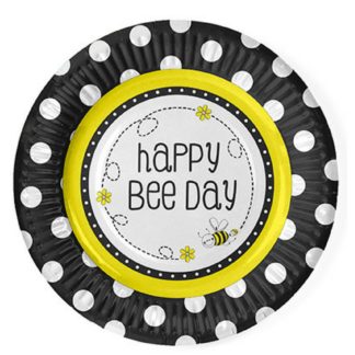 """Kartonnen bord met een opdruk """"Happy bee day"""" en een afbeelding van een bij. Leuke tafeldecoratie tijdens een thematisch kinderfeest rond bijen."""