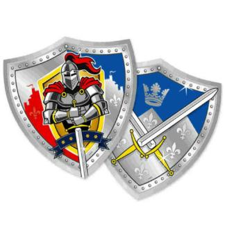 Kartonnen borden met een afbeelding van een ridder of twee gekruiste zwaarden. De borden hebben de vorm van een schild.