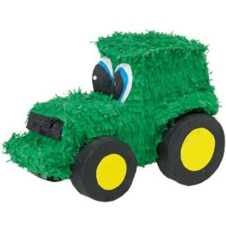 Pinata in de vorm van een tractor. De tractor is groen en heeft gele velgen en zwarte banden. Deze pinata stukslaan is een leuke activiteit voor de kinderen tijdens een kinderfeestje rond de boerderij.
