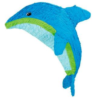 Pinata in de vorm van een dolfijn. De dolfijn is blauw met een witte buik en groen streep. Deze pinata stukslaan is een leuke activiteit voor de kinderen tijdens een kinderfeestje rond de onderwaterwereld.