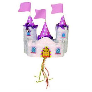 Pinata in de vorm van een kasteel. Deze pinata stukslaan is een leuke activiteit tijdens een kinderfeestje rond prinsessen en ridders.