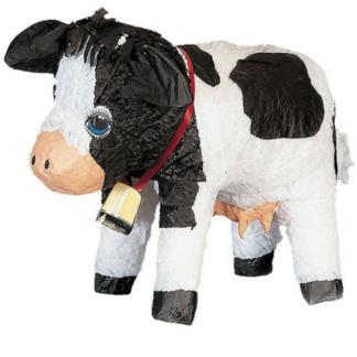 Pinata in de vorm van een koe. De koe is zwart en wit en heeft een koebel om. Deze pinata stukslaan is een leuke activiteit voor de kinderen tijdens een kinderfeestje rond de boerderij.