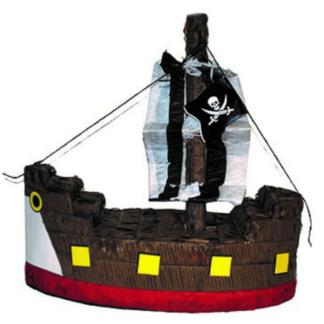 Pinata in de vorm van een piratenschip. Deze pinata stukslaan is een leuke activiteit voor de kinderen tijdens een kinderfeestje rond piraten.