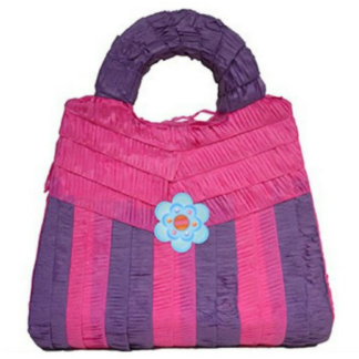 Pinata in de vorm van een handtas. De handtas is roos en paars/roos gestreept. De sluiting heeft de vorm van een bloem. Een pinata stukslaan is altijd een leuke activiteit voor de kinderen tijdens een kinderfeestje.