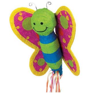 Pull pinata in de vorm van een vlinder. De vlinder is felgekleurd en heeft een lachend gezicht. Deze pinata stukslaan is een leuke activiteit voor de kinderen tijdens een kinderfeestje.