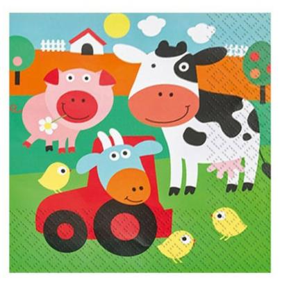 Servetten met een afbeelding van verschillende boerderijdieren. Leuke tafeldecoratie tijdens een thematisch kinderfeest rond de boerderij.
