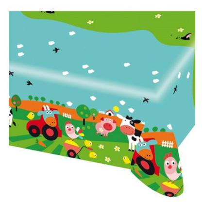 Tafelkleed van plastiek met onderrand met tafereel van verschillende boerderijdieren. Leuke decoratie voor een thematisch kinderfeest rond de boerderij.
