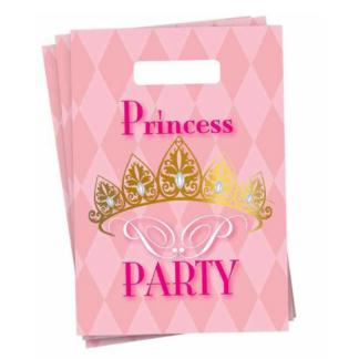 """Zes roze uitdeelzakjes met een opdruk van """"Princess party"""" en een goudkleurige afbeelding van een kroon. Leuk voor een thematisch kinderfeest rond prinsessen."""
