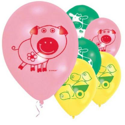 Zes ballonnen met opdruk van een boerderijdier. Leuke versiering tijdens een boerderij kinderfeest.