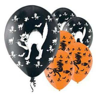 Zwarte ballon met witte opdruk van een kat en oranje ballon met opDrie zwarte ballonnen met silhouet van een kat, omgeven door heksen, vleermuizen en spoken, en drie oranje ballonnen met silhouet van heks op bezemsteel. Leuke decoratie tijdens een kinderfeestje rond heksen en andere griezels.druk van een heks op een bezemsteel. Leuke decoratie voor een kinderfeestje rond heksen, griezels of halloween.