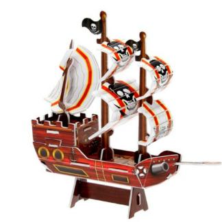 Bouwpakket van foam om zelf een 3D piratenschip te bouwen. Leuke knutselset tijdens een thematisch kinderfeestje rond piraten.
