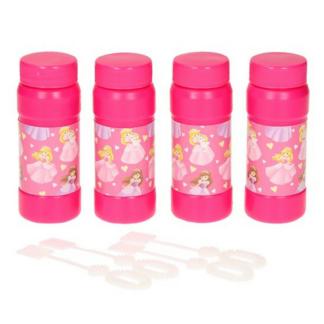 Set van vier roze bellenblazen met een print van prinsessen. Dit is een leuk uitdeelcadeautje tijdens een kinderfeestje rond prinsessen.