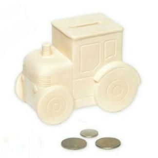 Spaarpot van keramiek in de vorm van een tractor om in te kleuren met verf. Dit is een leuke knutselset tijdens een kinderfeestje.
