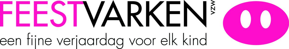 Logo van Feestvarken in de vorm van een donkerroze varkenssnuit