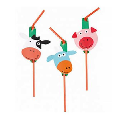 Rietjes met decoratie van boerderijdieren in verschillende variaties. Leuke decoratie tijdens een kinderfeestje rond de boerderij.
