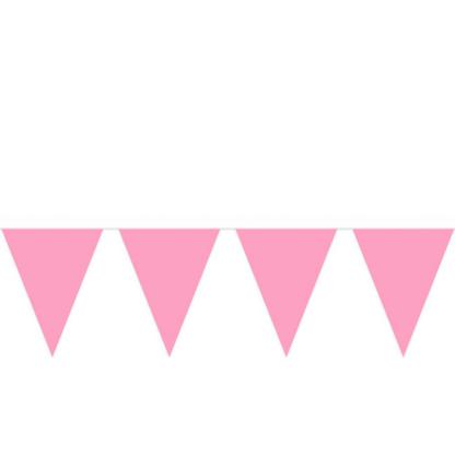 Vlaggenlijn van 3 meter lang met effen roze vlaggetjes van kunststof.