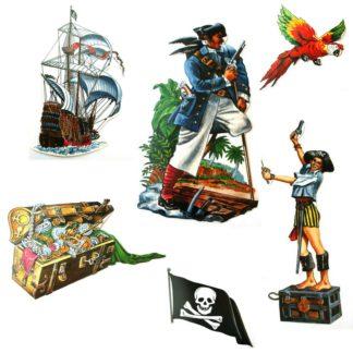 Set van zes kartonnen cut-outs met piratenthema. Dit is een leuke decoratieset voor een thematisch kinderfeestje rond piraten.