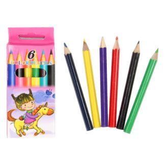 Set van zes kleine kleurpotloden in verschillende kleuren in een opbergdoosje.