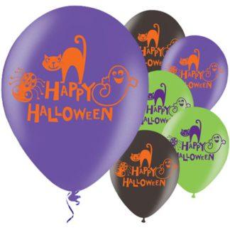 """Zes ballonnen in drie verschillende kleuren (paars, zwart en groen) met een opdruk van """"Happy halloween"""" en een afbeelding van een kat, een spook en een spin. Leuke decoratie tijdens een Halloween kinderfeestje."""