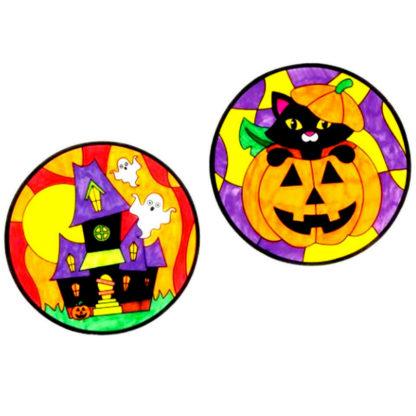 Inkleurbare raamdecoraties van transparant perkamentpapier met verschillende Halloween ontwerpen. Leuke knutselset voor een Halloween kinderfeestje.