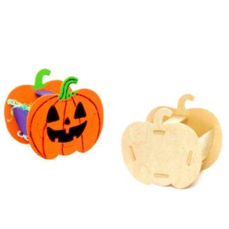 Houten mandjes in de vorm van een pompoen om zelf in elkaar te zetten en te versieren.Leuke knutselset voor een Halloween kinderfeestje.