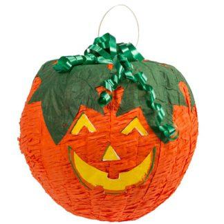 Piñata in de vorm van een pompoen met een lachend gezicht. Leuk spel tijdens een thematisch kinderfeestje rond Halloween, heksen of andere griezels.