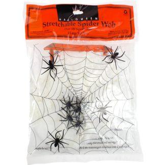 Decoratie spinnenweb met 4 plastiek spinnen. Leuke decoratie tijdens een Halloween kinderfeest