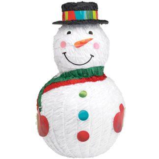 Piñata in de vorm van een sneeuwpop. Deze piñata is niet alleen leuk als decoratie tijdens het kerstfeestje, maar ook als spel voor jong en oud.