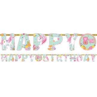"""Letter banner met een opdruk van """"Happy birthday"""" en magische eenhoorns. Leuke versiering voor een verjaardagsfeest of thema kinderfeest rond eenhoorns."""