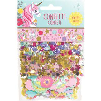 Tafelconfetti met eenhoorns, glitters, hartjes, sterren en bloemen.