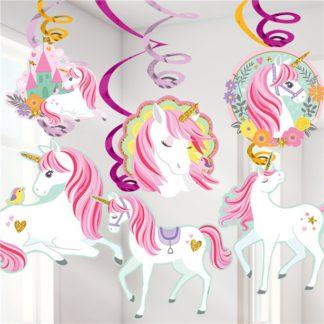 hangdecoratie bestaande uit twaalf spiraalslingers, waarvan zes met een onderhanger met decoratie van een witte eenhoorn met roze manen.Mooie decoratie voor een thema kinderfeestje rond eenhoorns.