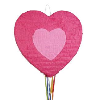 Pinata in de vorm van een roos hart met veelgekleurde trekkoorden.