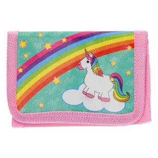 Roze portemonnee met een afbeelding van een witte eenhoorn met regenboog manen. Leuk als uitdeelcadeautje tijdens een eenhoorn kinderfeestje.
