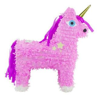 Piñata in de vorm van een roze eenhoorn met goudkleurige hoorn. Met deze piñata is pret gegarandeerd tijdens elk verjaardagsfeest of kinderfeestje.