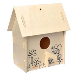 Knutselpakket om zelf een houten vogelhuisje te bouwen en in te kleuren