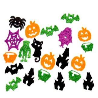 Glitter stickerdecoratie met afbeeldingen in Halloween thema om knutselwerkjes mee te versieren.